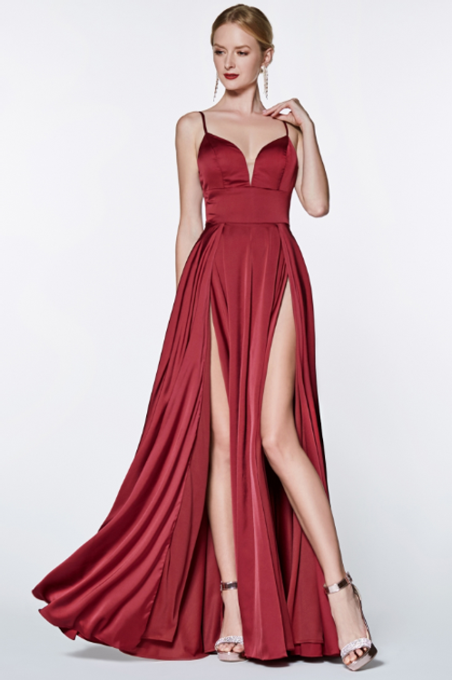 A-line satin gown with double slit and deep sweetheart