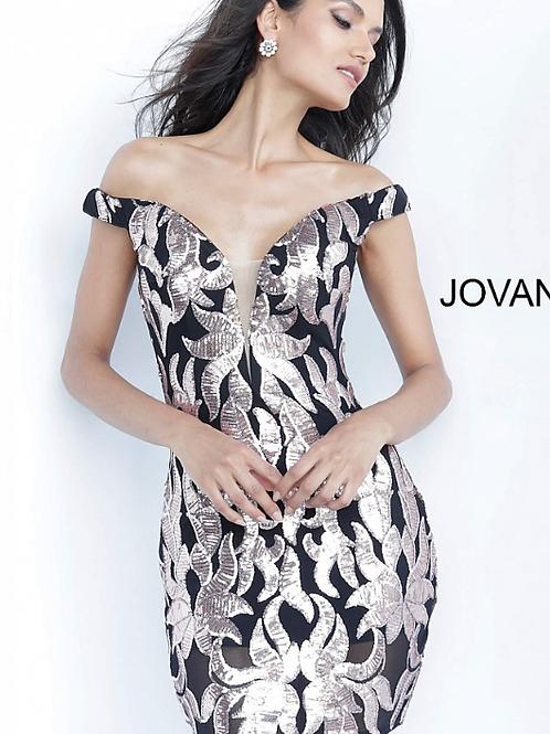 JOVANI Black Rose Off the Shoulder Embellished Short Dress 8004