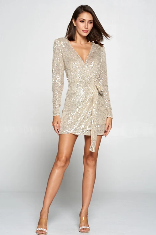 Champagne Long Sleeve Glitz Dress