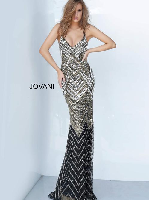 V Neck Fully Embellished Jovani Prom Dress 2721