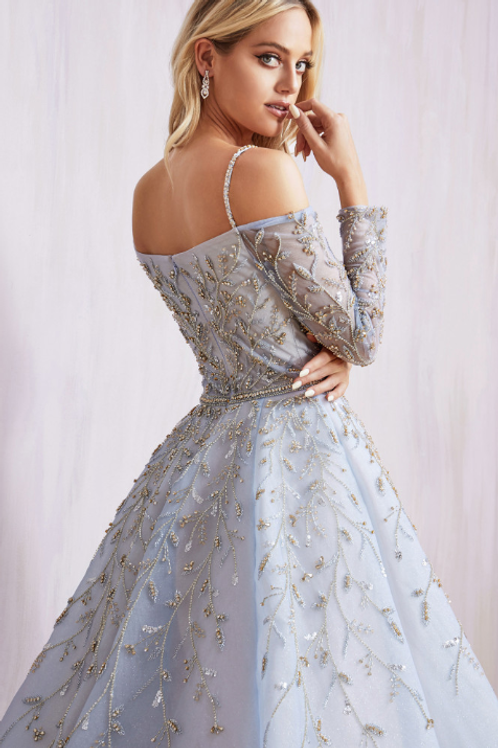 ALLORIA Regal Off Shoulder Long Sleeve Fully Beaded Gown