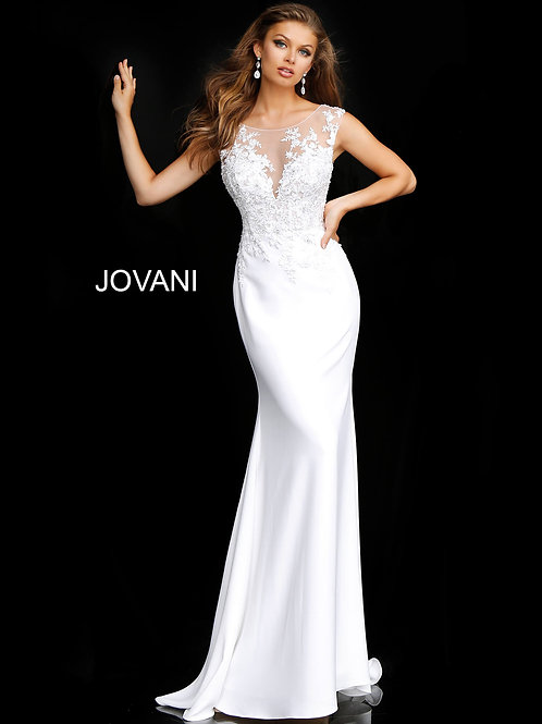 Off White Floral Embroidered Fitted Wedding Gown JB68166