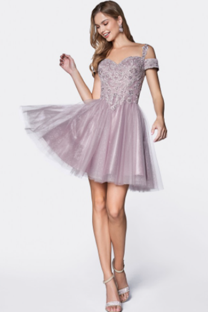 CINDERELLA DIVINE Cocktail Dress Off The Shoulder Lace And Glitter Tulle Skirt