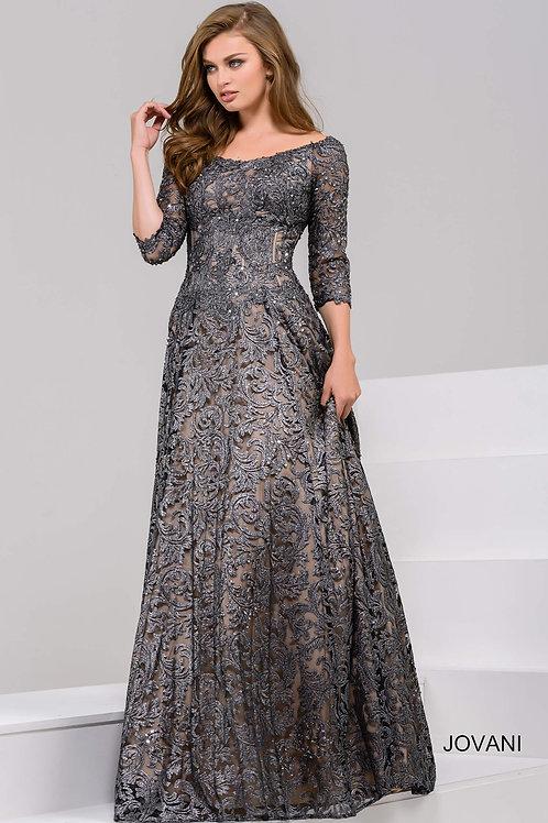 Grey Off the Shoulder Lace A-Line Evening Dress 37938