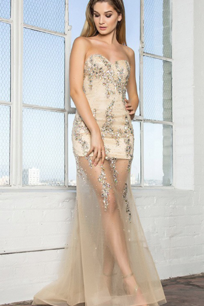 Crystal Beading Sexy Gown