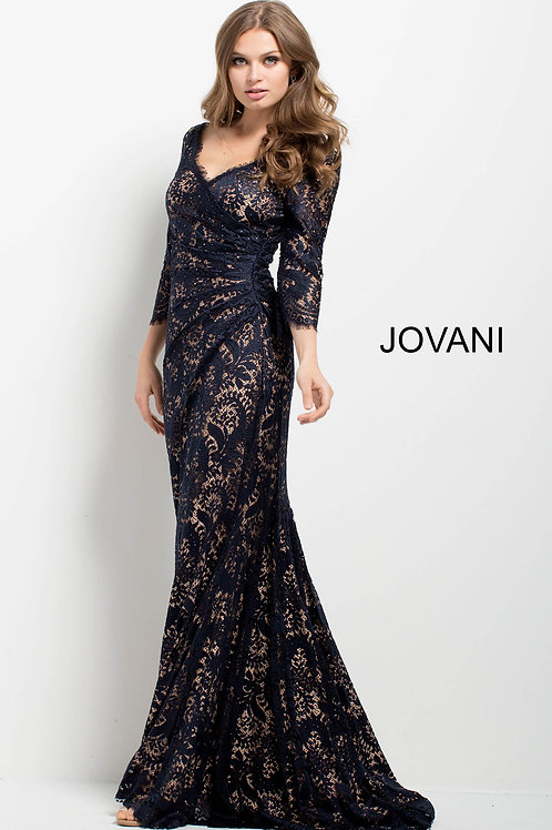 Midnight Lace Fitted Long Sleeve Evening Dress 39503