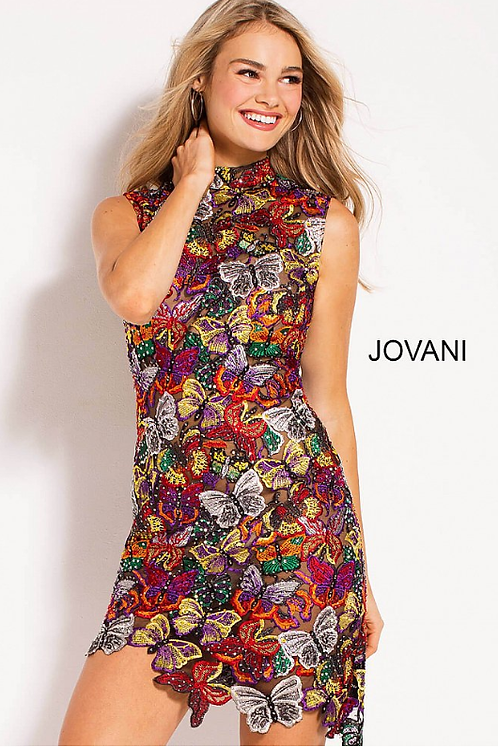 JOVANI Color Embroidered Short Contemporary Dress