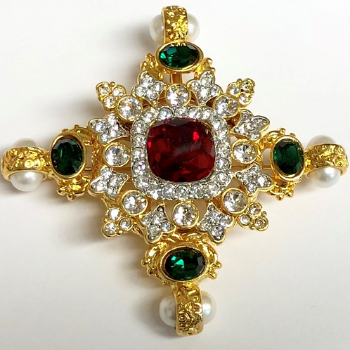 Ruby Center Crystals & Pearl/ends Maltese Cross Pin