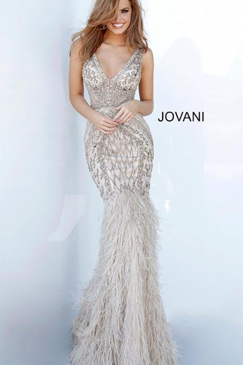 Jovani 02798 Feather Bottom Embellished Evening Dress