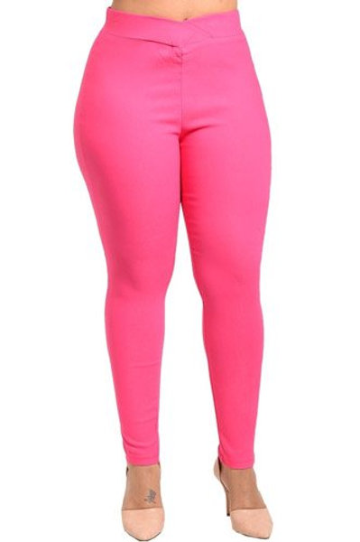 Plus size fashion stretch knit pants, and an elasticized waist