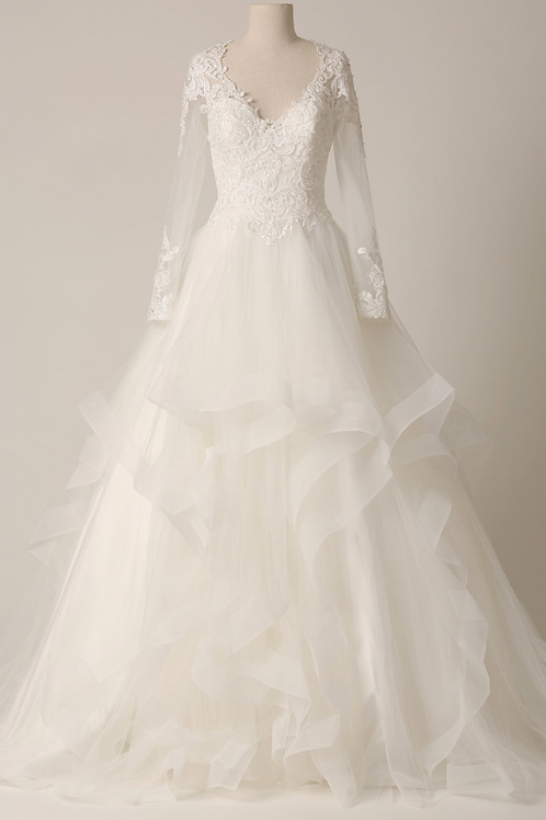 Mignon Manley Design Long Sleeve Beaded Lace Tulle On Satin Bridal Gown