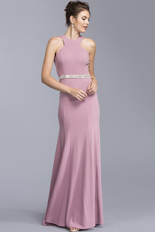 Beautiful Evening Long Dress With Halter Neckline