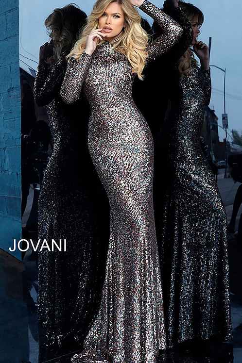 Multi Sequin Long Sleeve High Neck Evening Dress 1756