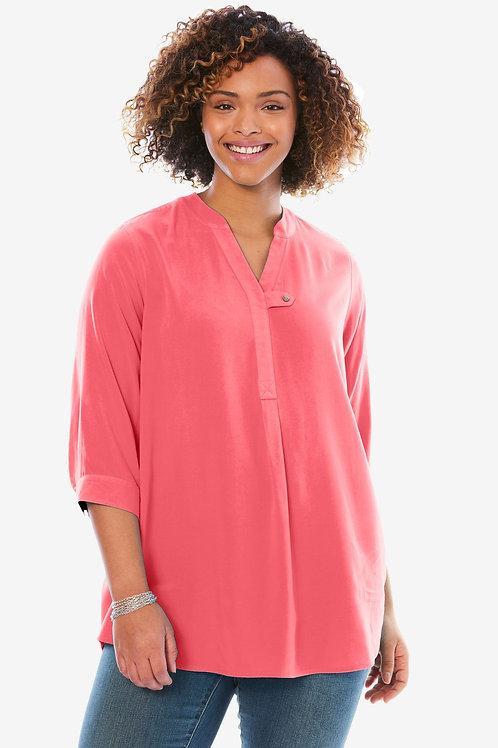 3/4 sleeve tabfront Women Shirt