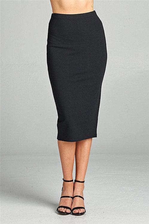 Black Ponte Pencil Midi Skirt