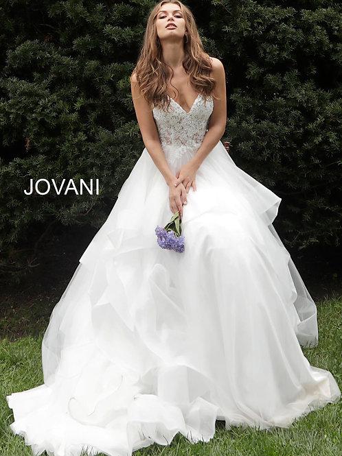 Off White Spaghetti Straps Embroidered Wedding Dress JB65937