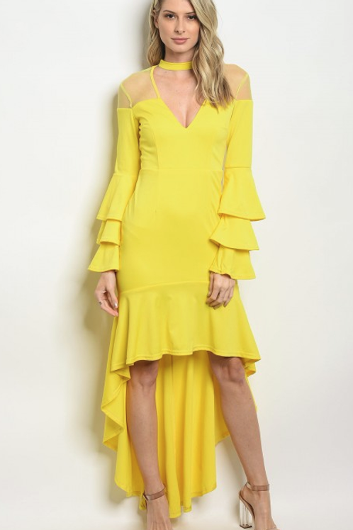 SHINE IN THIS STUNNING YELLOW HI-LOW DRESS