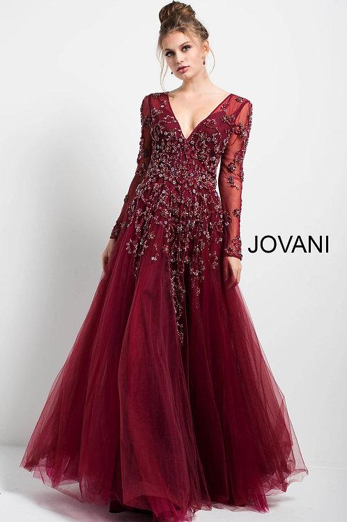 Burgundy Embellished Long Sleeve V Neck Gown 51587