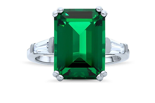 Sterling Silver Emerald Simulated Emerald CZ 3-Stone Statement Ring