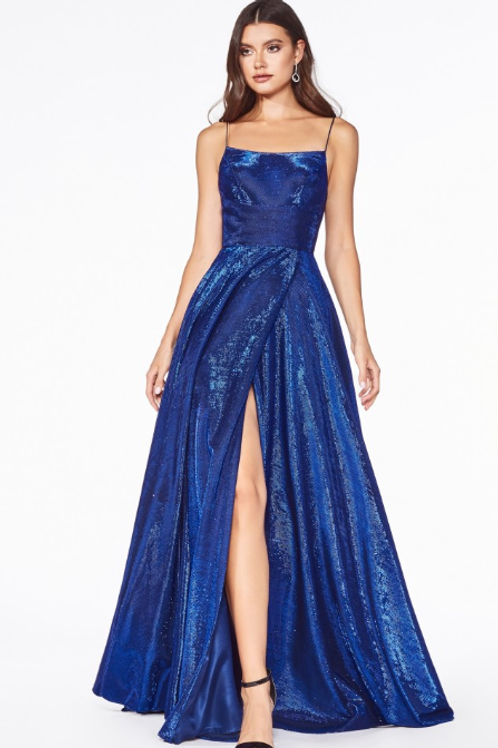 A-line metallic ball gown with lace up back and leg slit