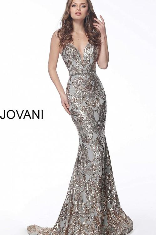 Gold Silver Criss Cross Back Embellished Prom Dress 67347