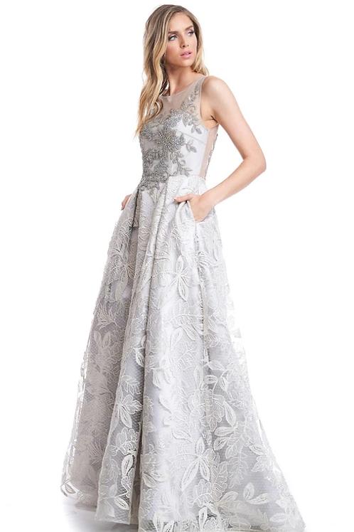 Bateau Neck Sleeveless A-Line Dress