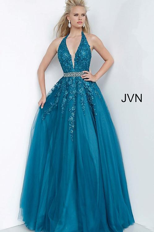 JVN00923 Halter Neckline Embroidered Prom Ballgown