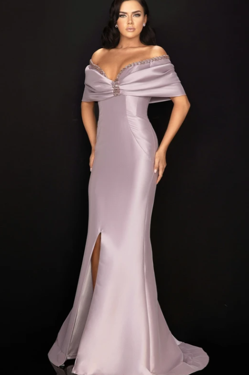 TERANI COUTURE - Wrapped Shawl Long High Slit Gown