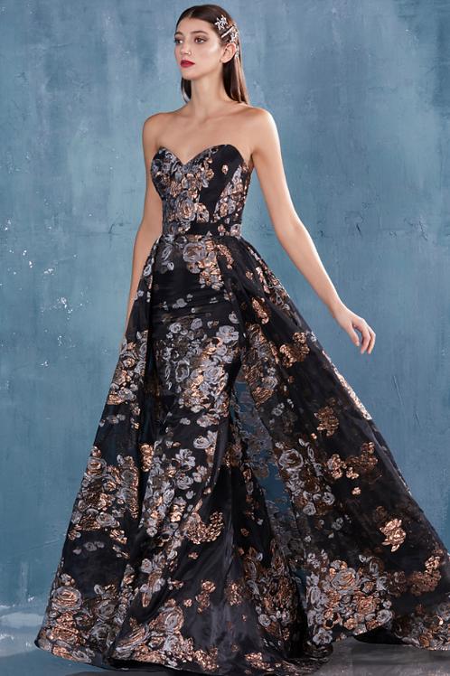 Stunning EFFIE Strapless Sheath Metallic Print Gown With Overskirt Georgous