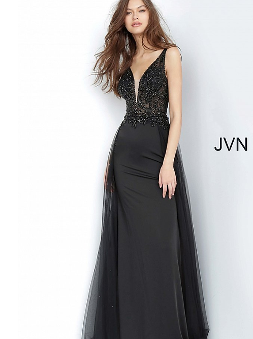 JVN02253 Black Embellished Bodice V Back Prom Dress
