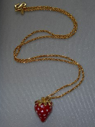Red and Crystal Dots Strawberry Pendant on Gold Chain