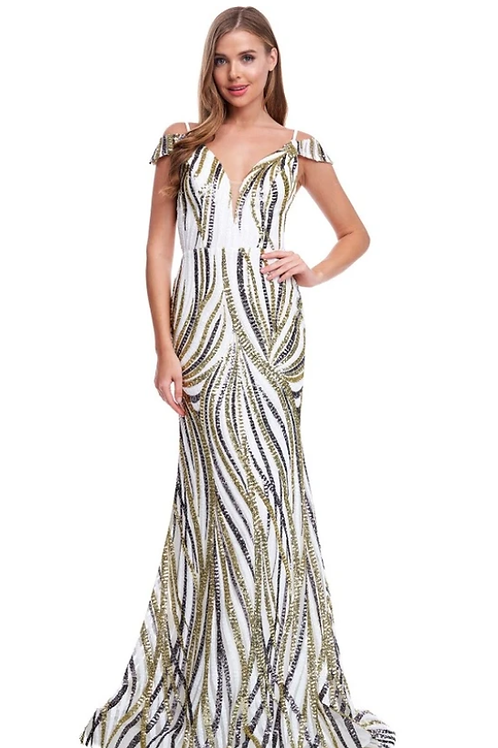 V-Neck Off Shoulder Sequin Trumpth Dress