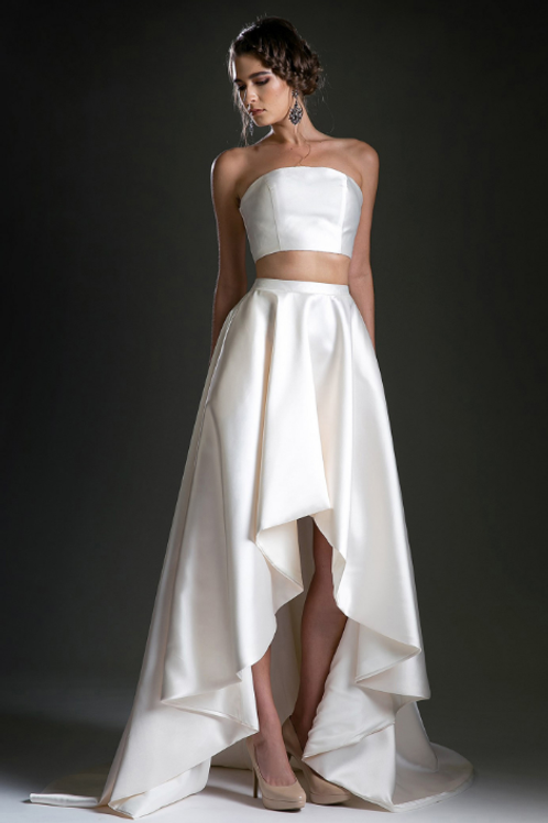 Andrea & Leo Two Piece Satin Gown