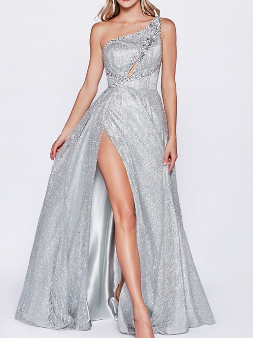One shoulder a-line gown with front keyhole and high leg slit.
