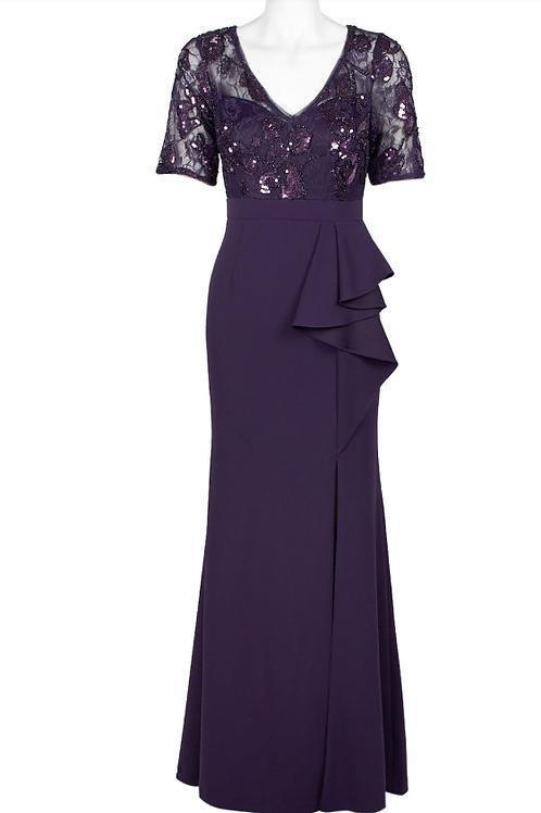 Adrianna Papell Short Sleeve Crepe Dress