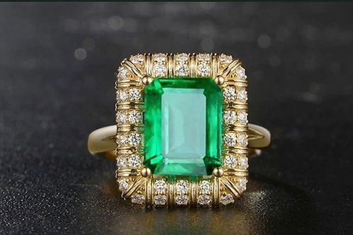 Classic Luxury 2.98ct Natural Emerald & Natural Diamond18K Gold Ring