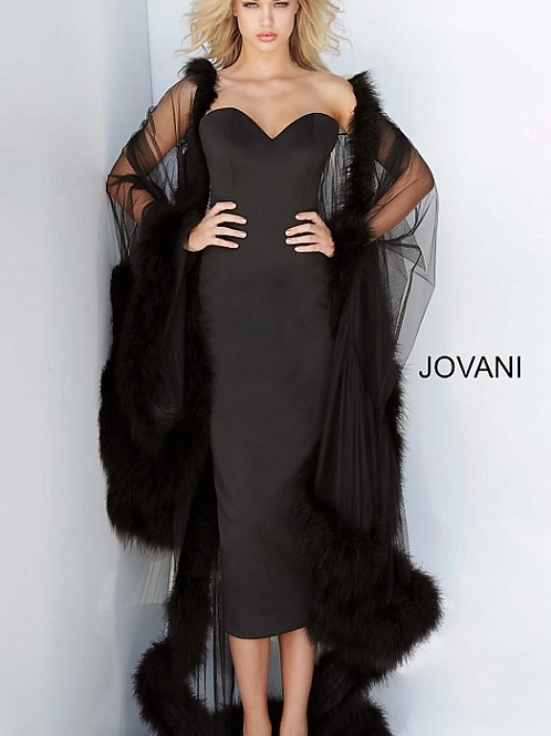 Black Strapless Evening Dress with Cape Jovani 02010