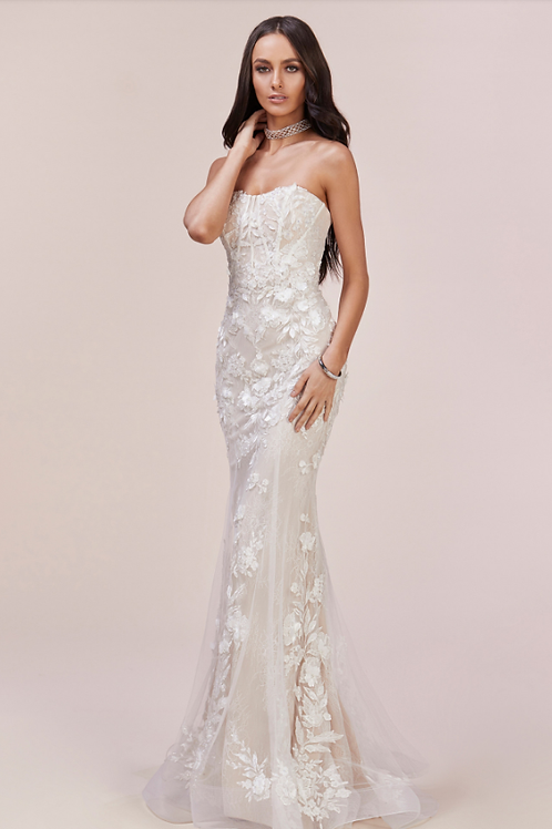 Andrea & Leo Enchanted Lace Bustier Mermaid Gown