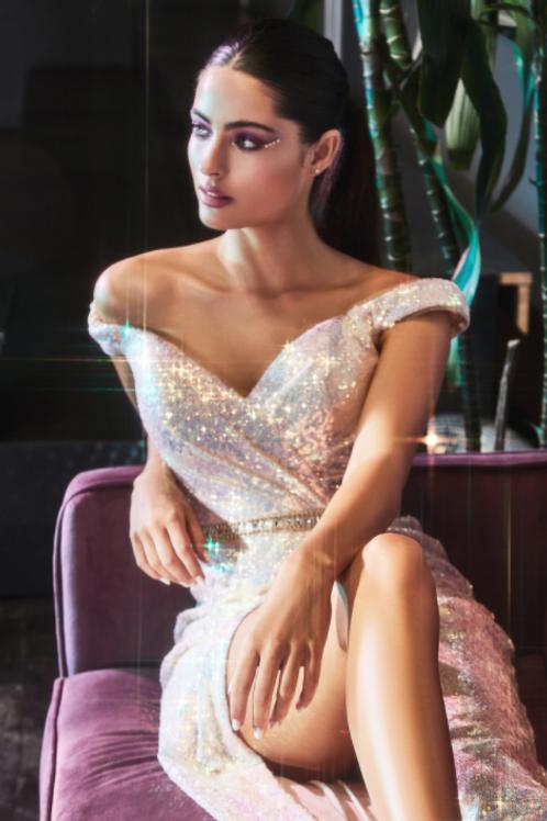 Off Shoulders Sequin Gown