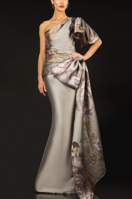Couture Satin One Sleeve Gown With Sash