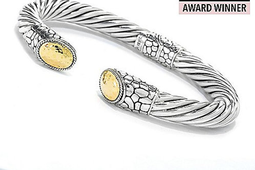 18K Gold Accented Choice of Size Hinged Cable Cuff Bracelet