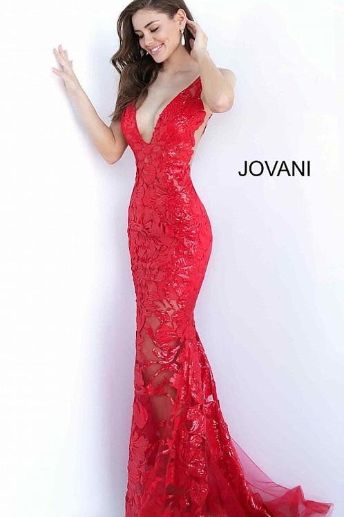 Jovani 60283 Red Plunging Neckline Embellished Dress