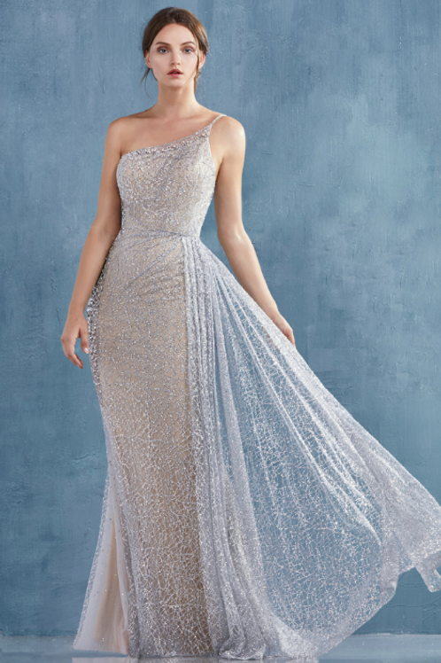 By Bora One Shoulder Glitter Fully Beaded Gown