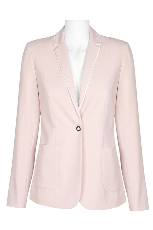 T Tahari Notched Collar One Button Long Sleeve Crepe Jacket