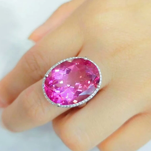 Natural Pink Topaz 925 Silver Ring