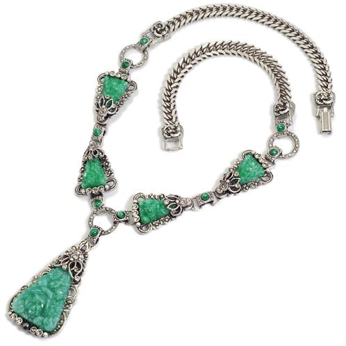Art Deco Vintage Green JadeTriangle Necklace