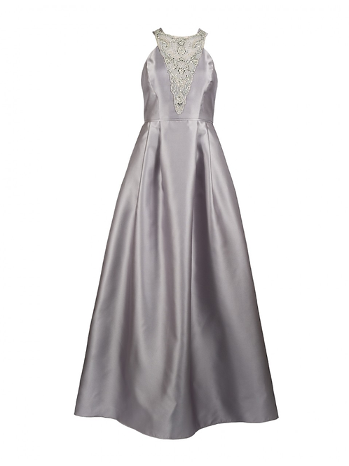 Adrianna Papell Silver Jacquard Gown