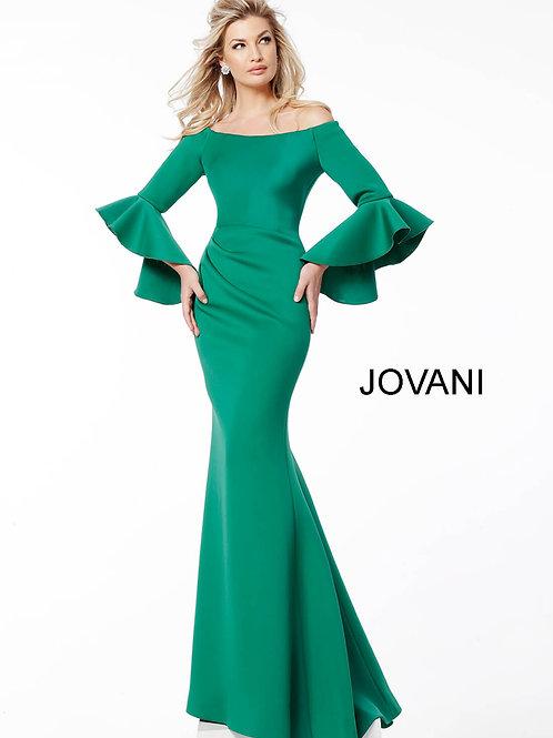 Green Scuba Off the Shoulder Bell Sleeves Evening Dress 59993