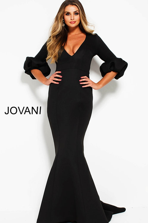 Black Fitted Scuba Three Quarter Sleeve Evening Dress 57918