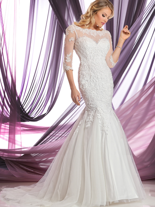 Lace & Tulle Mermaid Bridal Gown with Sheer Bateau Neckline
